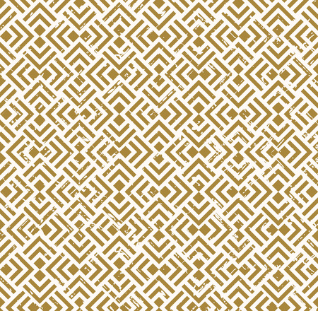 worn out: Seamless vintage worn out golden crossed diamond check square background.