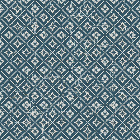worn out: Seamless vintage worn out flower check pattern background. Illustration