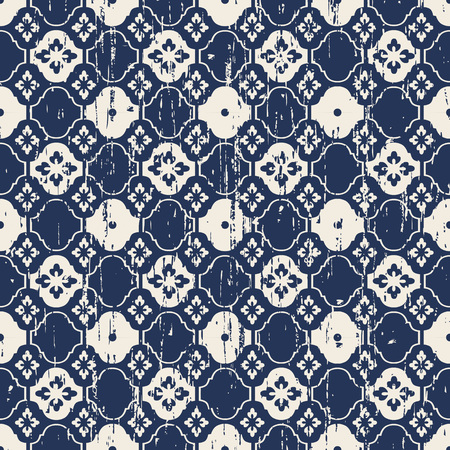 worn out: Seamless vintage worn out blue flower tracery pattern background.