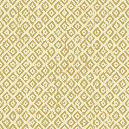 worn out: Seamless vintage worn out yellow diamond check geometry pattern background. Illustration