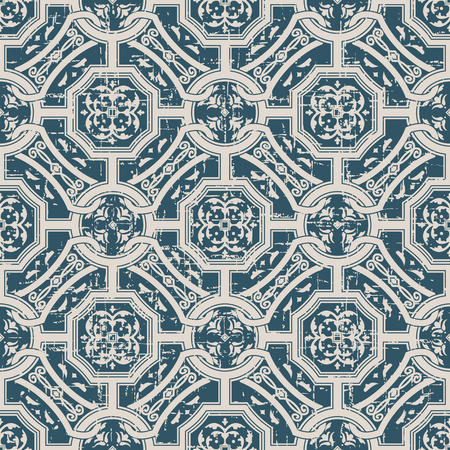 worn out: Seamless worn out antique background image of round square chain geometry cross flower