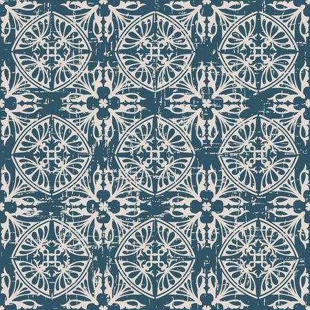 worn out: Seamless worn out antique background image of round curve geometry kaleidoscope