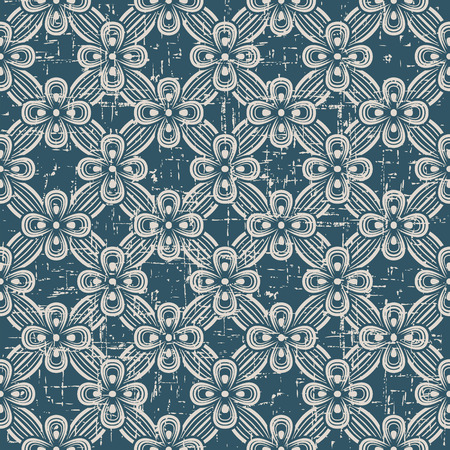 worn out: Seamless worn out antique background image of ribbon cross flower