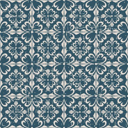worn out: Seamless worn out antique background image of spiral cross flower Illustration