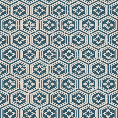 worn out: Seamless worn out antique background image of polygon flower