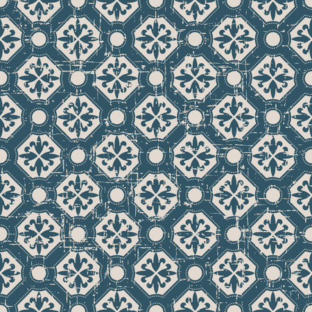 worn out: Seamless worn out antique background image of round polygon dot line flower