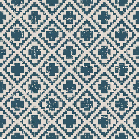 worn out: Seamless worn out antique background image of pixel diamond check Illustration