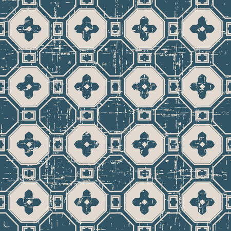 worn out: Seamless worn out antique background image of polygon cross flower