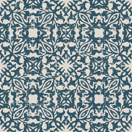 worn out: Seamless worn out antique background image of curve geometry kaleidoscope