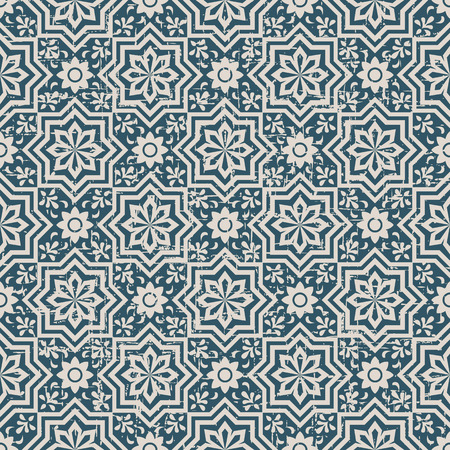 worn out: Seamless worn out antique background image of star flower geometry Illustration