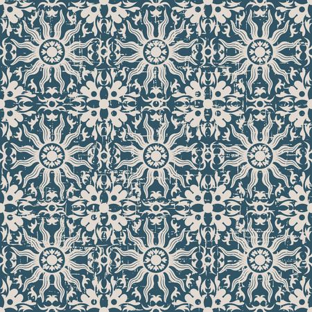 worn out: Seamless worn out antique background image of sun round flower kaleidoscope