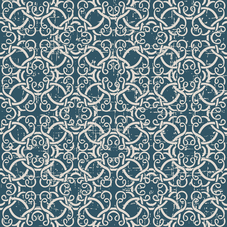 worn out: Seamless worn out antique background image of curve spiral cross frame lline