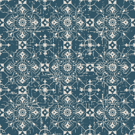 worn out: Seamless worn out antique background image of check round cross flower
