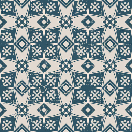 Seamless worn out antique background image of flower square cross geometry