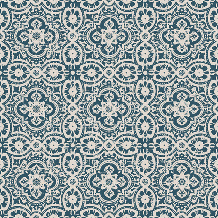 worn out: Seamless worn out antique background image of lace flower round kaleidoscope
