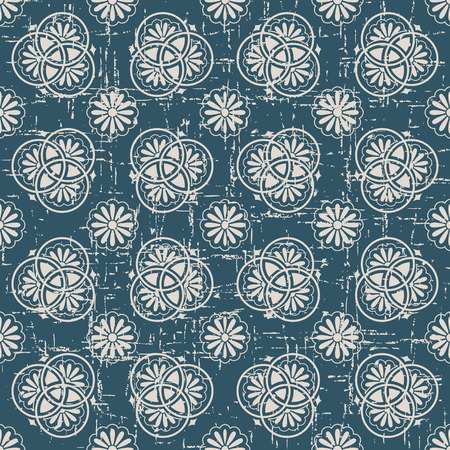 worn out: Seamless worn out antique background image of round line flower