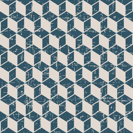 worn out: Seamless worn out antique background image of cubic square geometry