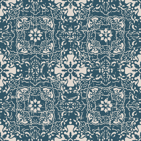 worn out: Seamless worn out antique background image of flower kaleidoscope geometry