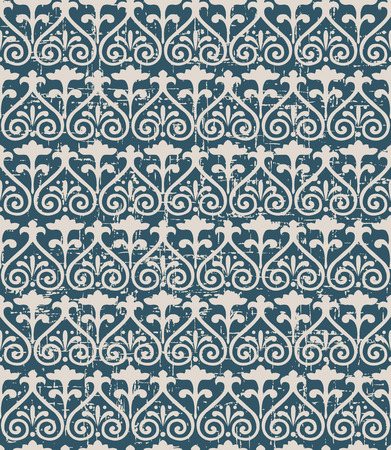 worn out: Seamless worn out antique background image of curve spiral cross flower