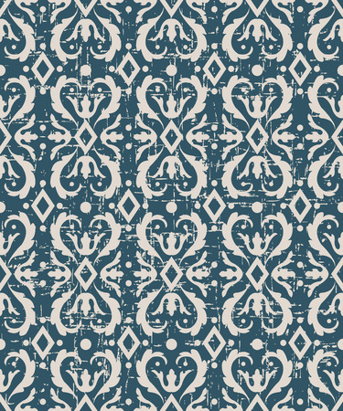 worn out: Seamless worn out antique background image of curve spiral round rhomb check kaleidoscope Illustration
