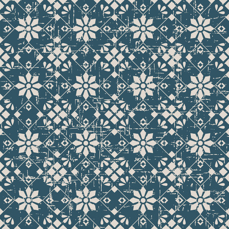worn out: Seamless worn out antique background image of cross square check flower Illustration