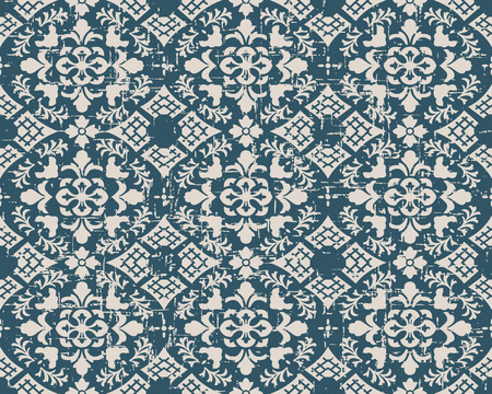 worn out: Seamless worn out antique background image of vintage curve cross flower leaf check geometry