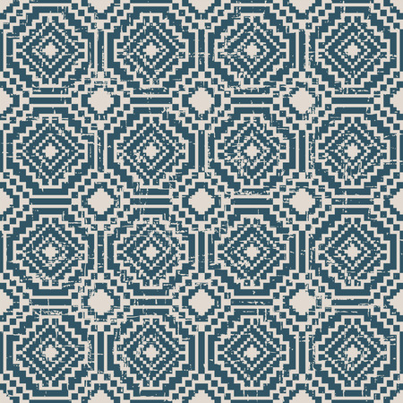 worn out: Seamless worn out antique background image of square mosaic octagon geometry cross