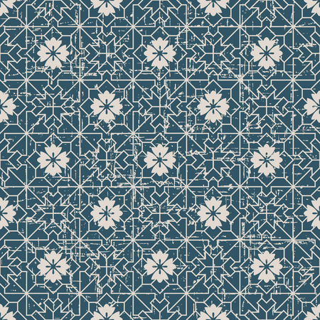 worn out: Seamless worn out antique background image of check square cross geometry line flower