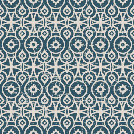 worn out: Seamless worn out antique background image of round geometry flower