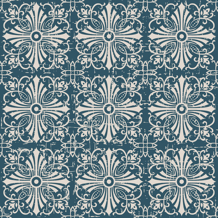 Seamless worn out antique background image of cross spiral vine kaleidoscope