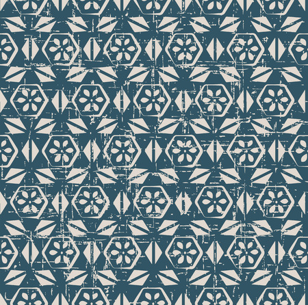 worn out: Seamless worn out antique background image of vintage polygon cross triangle flower Illustration