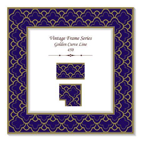 curve line: Vintage 3D frame 450 Golden Curve Line Illustration