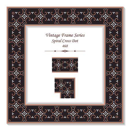 t square: Vintage 3D frame 468 Spiral Cross Dot Illustration