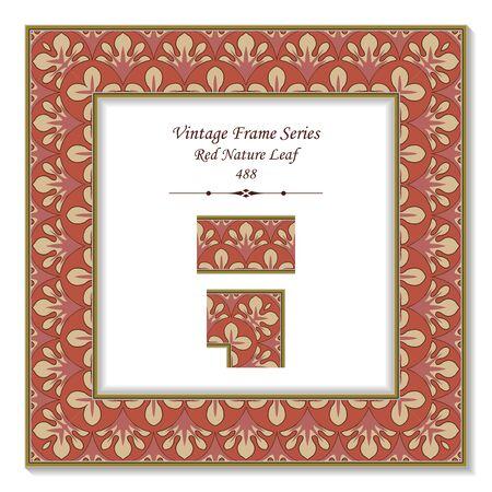 t square: Vintage 3D frame 488 Red Nature Leaf