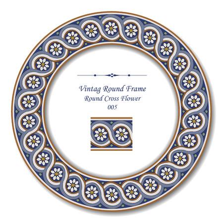 round: Vintage Round Frame 005 Round Cross Flower Illustration