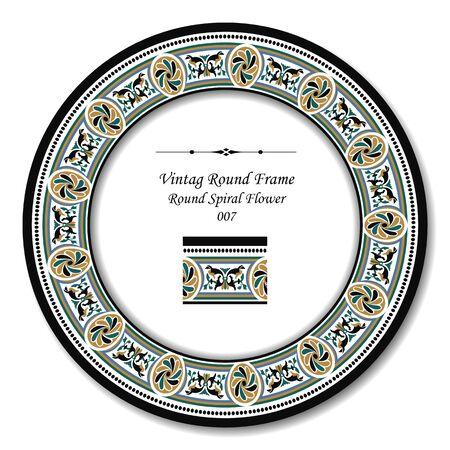 round: Vintage Round Frame 007 Round Spiral Flower Illustration