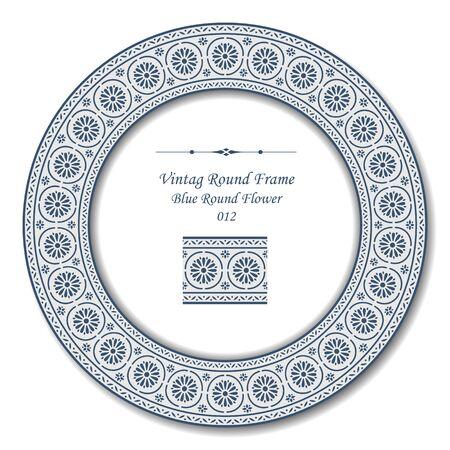 round: Vintage Round Frame 012 Blue Round Flower Illustration