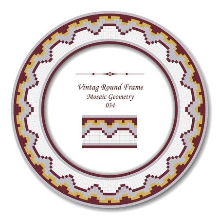 vintage retro frame: Vintage Round Retro Frame 034 Mosaic Geometry