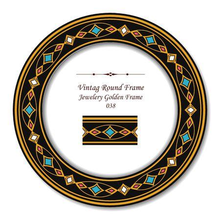 vintage retro frame: Vintage Round Retro Frame 038 Jewelery Golden Frame