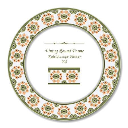 vintage retro frame: Vintage Round Retro Frame 070 Kaleidoscope Flower Illustration