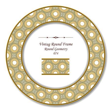 vintage retro frame: Vintage Round Retro Frame 074 Round Geometry