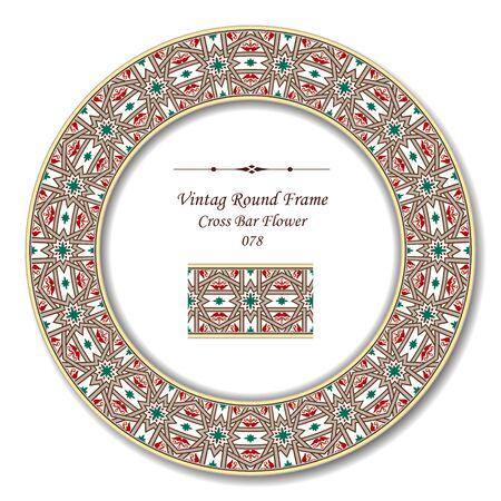 cross bar: Vintage Round Retro Frame 078 Cross Bar Flower