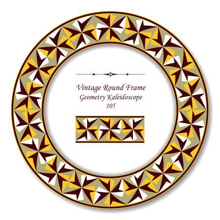 vintage retro frame: Vintage Round Retro Frame 105 Geometry Kaleidoscope