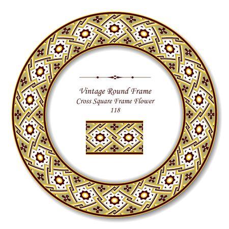vintage retro frame: Vintage Round Retro Frame 118 Cross Square Frame Flower