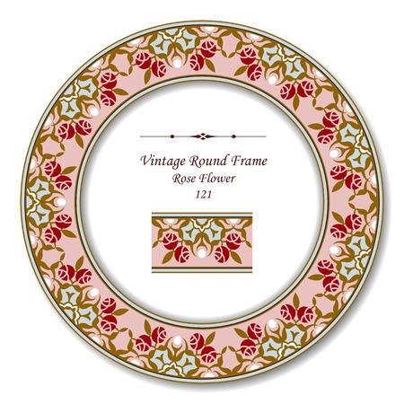 vintage retro frame: Vintage Round Retro Frame 121 Rose Flower