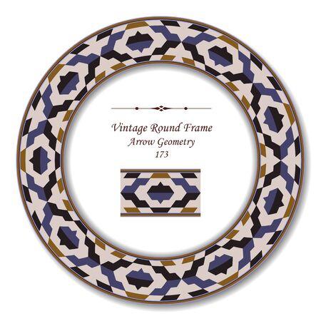 vintage retro frame: Vintage Round Retro Frame 173 Arrow Geometry Illustration