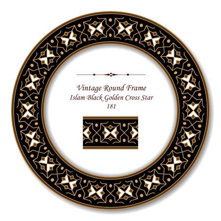 Cadre rond vintage rétro 181 Islam noir Croix d'or étoile