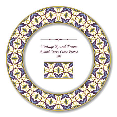 vintage retro frame: Vintage Round Retro Frame 202 Round Curve Cross Frame