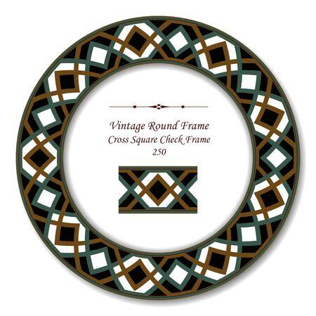 vintage retro frame: Vintage Round Retro Frame 250 Cross Square Check Frame