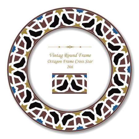 vintage retro frame: Vintage Round Retro Frame 266 Octagon Frame Cross Star